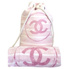 Chanel-Chanel backpack and matching towel-Pink,White
