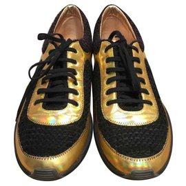 Chanel-Sneakers-Black,Blue,Golden,Dark red