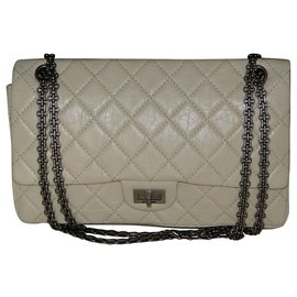 Chanel-Chanel 2.55 lamb leather maxi Reissue 226-Cream