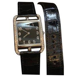 Hermès-Hermes Diamond cape code lined tour watch-Dark blue