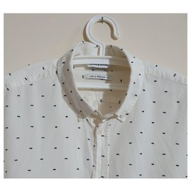 Samsoe & Samsoe-chemises-Blanc,Bleu