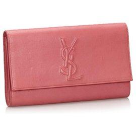 Yves Saint Laurent-Pochette Belle du Jour en Cuir Rose YSL-Rose