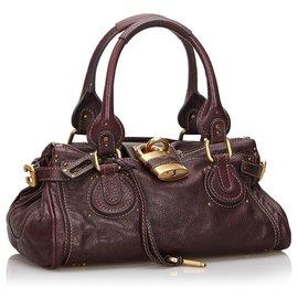 Chloé-Chloe Red Leather Paddington Handbag-Red,Dark red