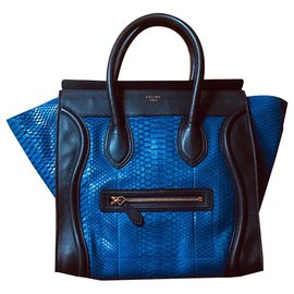 Céline-Beautiful and rare Céline Luggage two-tone bag in blue Python-Navy blue