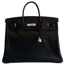 Hermès-HERMES BIRKIN 40 black box leather-Black