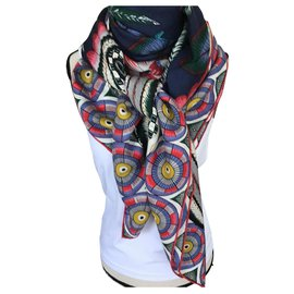 "Hermès-Cashmere & silk shawl ""savana dance""-Multiple colors"