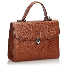 Burberry-Burberry Brown Leather Handbag-Brown