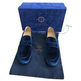 Autre Marque-MEN'S VELVET PENNY LOAFERS-Navy blue