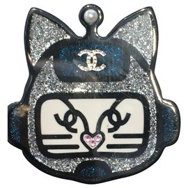Chanel-Pins & brooches-Black,Silvery,Blue