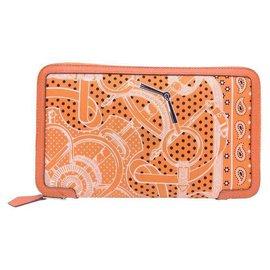 Hermès-Hermes cool silk wallets-Orange