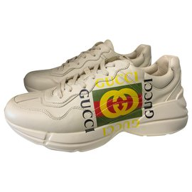 Gucci-Rhyton leather sneakers with Gucci size logo 43.5 eu-White