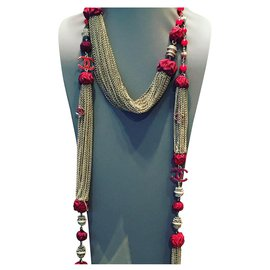 Chanel-Long necklaces-Silvery,Red