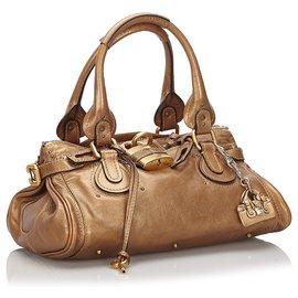 Chloé-Chloe Gold Leather Paddington Handbag-Golden