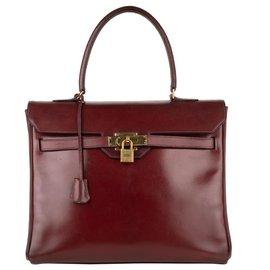 """Hermès-Très beau Collector: Hermès Kelly """"Monaco"""" 30 en cuir box bordeaux !-Bordeaux"""