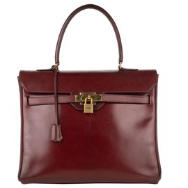 "Hermès-Very nice Collector: Hermès Kelly ""Monaco"" 30 Burgundy leather box!-Dark red"