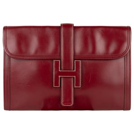 Hermès-Hermès Jige handbag in burgundy box leather!-Dark red