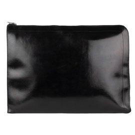 Hermès-Vintage Hermès Document Holder in black box leather-Black