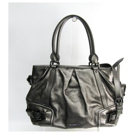 Burberry-Burberry Silver Metallic Leather Satchel-Silvery