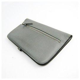 Hermès-Hermes Gray Clemence Dogon Long Wallet-Grey