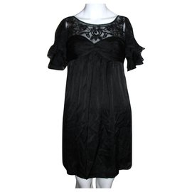 Temperley London-silk and lace dress-Black