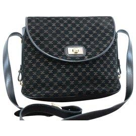 Céline-Céline Macadam Shoulder Bag-Black