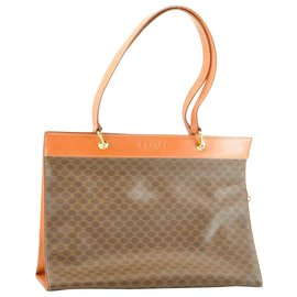 Céline-Céline Macadam Tote Bag-Brown