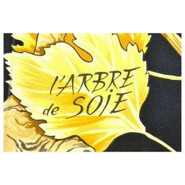 """Hermès-Hermès Scarf """"L'arbre de soie""""-Black"""