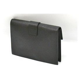 Céline-Céline Leather Clutch Bag-Black
