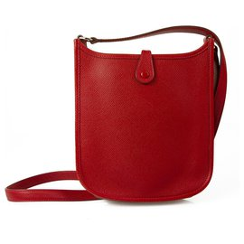 Hermès-Hermes Mini Evelyne TPM Red Epsom Messenger bag with Palladium Hardware-Red