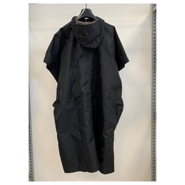 Comme Des Garcons-Hooded poncho rain-outerwear-Black
