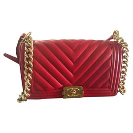 Chanel-CHANEL CHEVRON RED OLD MEDIUM 25 cm-Red