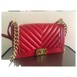 Chanel-CHANEL CHEVRON ROUGE VIEUX MOYEN 25 cm-Rouge