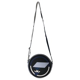 Chanel-CHANEL HAND BAG IN CANVAS AND GUM .-Black,White,Navy blue