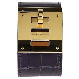 Hermès-Bracelet Hermès Kelly Crocodile Chien-Violet