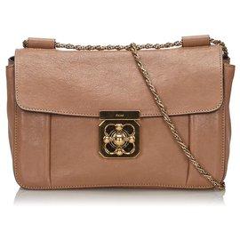 Chloé-Chloe Brown Leather Elsie Shoulder Bag-Brown,Beige
