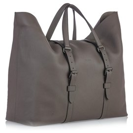 Gucci-Gucci - Grand sac de voyage en cuir gris - Weekend Weekend-Gris