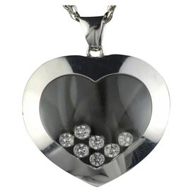 "Chopard-Chopard 18kt White Gold Happy Diamonds 7 Diamond Floating Heart Necklace 31""-Metallic"