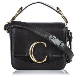 Chloé-Chloe Black Leather Mini C Crossbody-Black