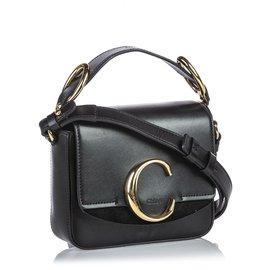 Chloé-Chloe Black Leather Mini C Crossbody-Black