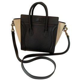 Céline-Luggage Nano-Black,Beige