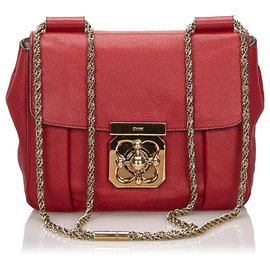 Chloé-Chloe Red Leather Elsie Shoulder Bag-Red