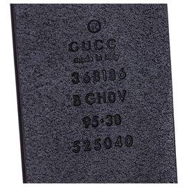 Gucci-Ceinture GG en cuir noir Gucci-Noir