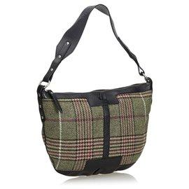 Burberry-Burberry Green Plaid Shoulder Bag-Multiple colors,Green,Dark green