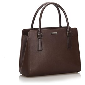 Burberry-Burberry Brown Leather Tote Bag-Brown,Dark brown