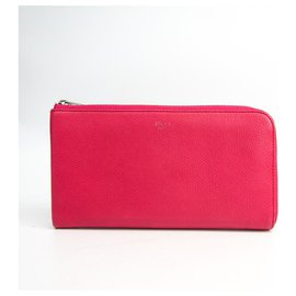 Céline-Celine Pink Leather Mutlifunction Long Wallet-Pink