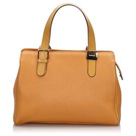 Burberry-Burberry Brown Leather Handbag-Brown,Light brown