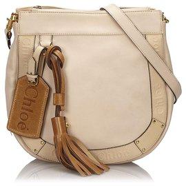 Chloé-Chloe Brown Leather Eden Crossbody Bag-Brown,Beige