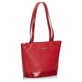 Burberry-Burberry Red Leather Tote Bag-Red