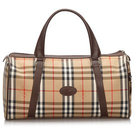 Burberry-Burberry Brown Haymarket Check Canvas Duffle Bag-Brown,Multiple colors,Beige