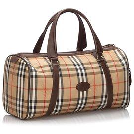 Burberry-Burberry Brown Haymarket Check Canvas Duffle Bag-Brown,Multiple colors,Beige